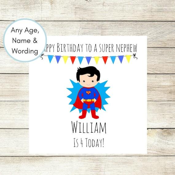 1st Birthday Card Personalised Superhero