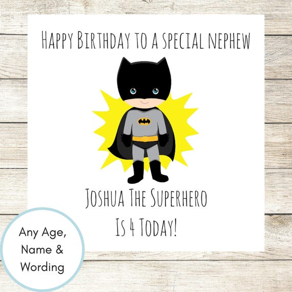 Boys Birthday Card Personalised Batman Birthday Card Batman Etsy