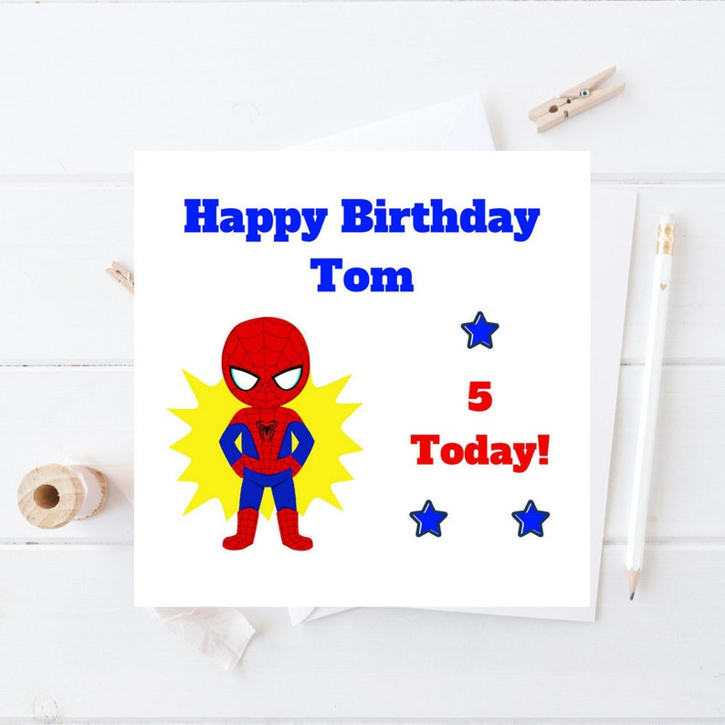 Spiderman Birthday Card Personalised