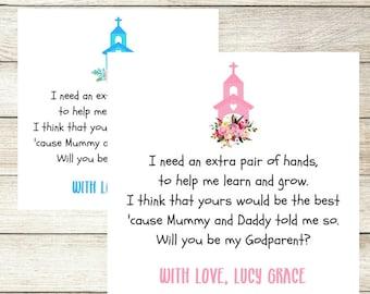 Werden Sie meine Patenschaft Patin Pate Karte, personalisierte Taufe Karte, Patenschaft Anfrage Karte, neue Baby-Taufe-Pate-Karte