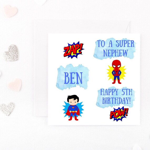 Personalised Superhero Boys Birthday Card