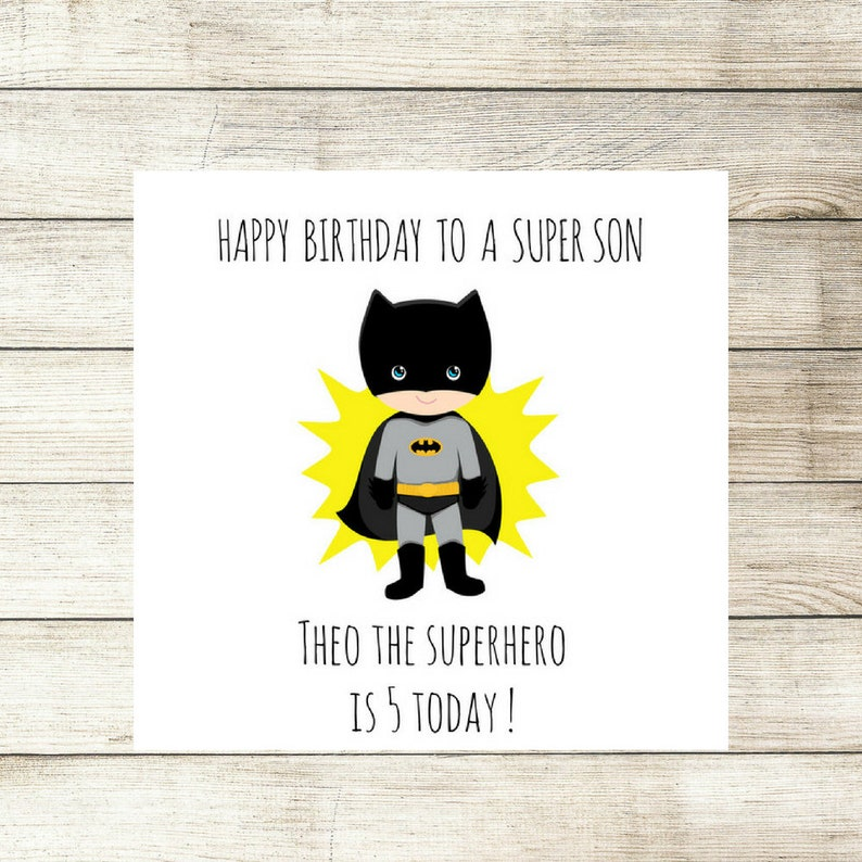 Boys Birthday Card Personalised Batman