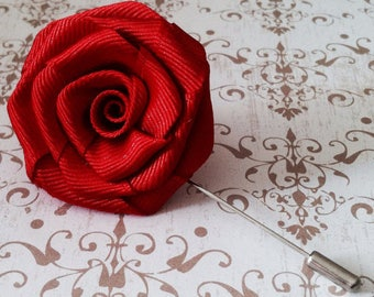 Mens Flower Lapel - Mens Rose Lapel Pin - Alternative Wedding Boutonniere Brooch- Apple Red Rose Pin  - Valentines Gifts for Him