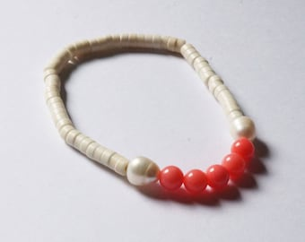 Coral and White shell bracelet