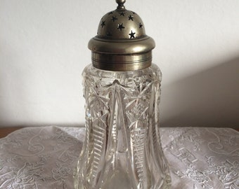 Beautiful antique Art Deco glass  sugar sifter with silver plated top
