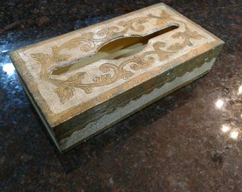 Italian / Gilt / Tissue Box / Vintage
