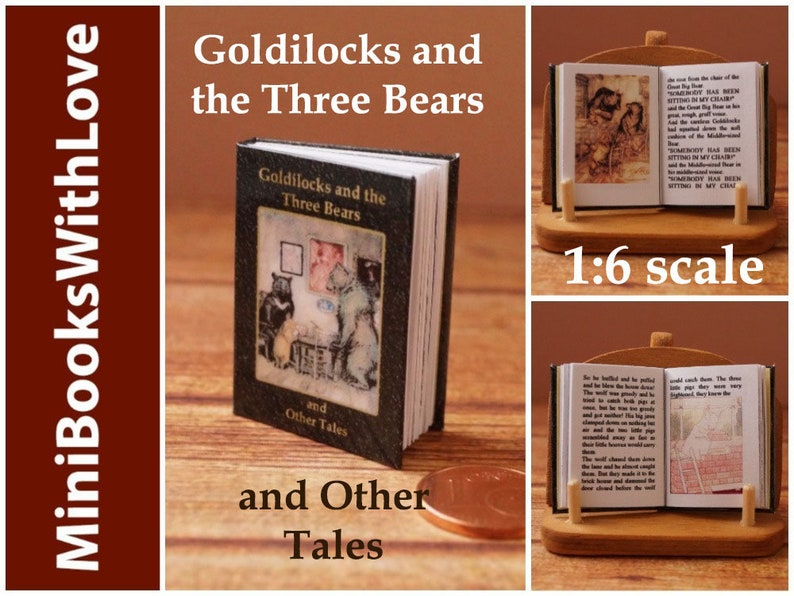 GOLDILOCKS AND THE THREE BEARS Miniature Book Dollhouse Book 1:12 Scale Book