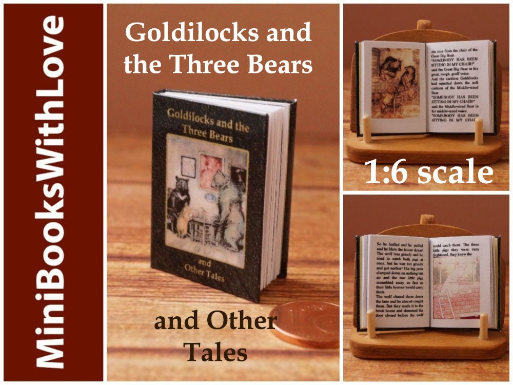 MINIATURE books, Goldilocks and the Three Bears and Other Tales, readable  1:6 scale books, dollhouse miniatures, suits barbie, blythe