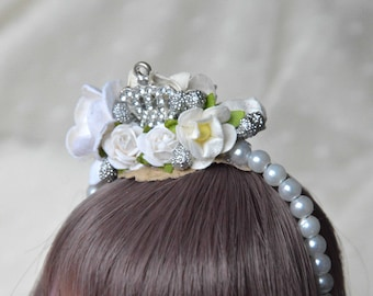 "BJD 6/7 ""White princess"" headband"