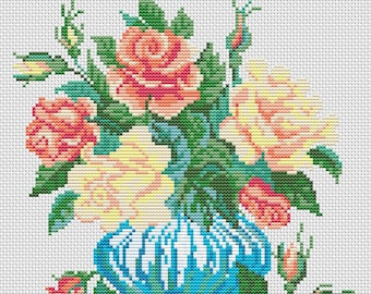 Cross Stitch Pattern Roses in a Vase counted embroidery