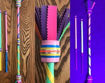 Crimson  White /& Indigo Juggling Flower Devil Rhythm Hand Luna Sticks Stix Hippie Light Baton Glow in the Dark