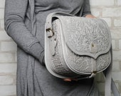Gray leather bag, big leather purse, hot tooled purse, gray crossbody bag, gray shoulder bag, capacious leather bag