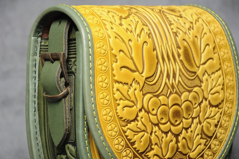 yellow shoulder bag Yellow bag ladies embossed bag bright leather purse round leather bag gift for her crossbody bag