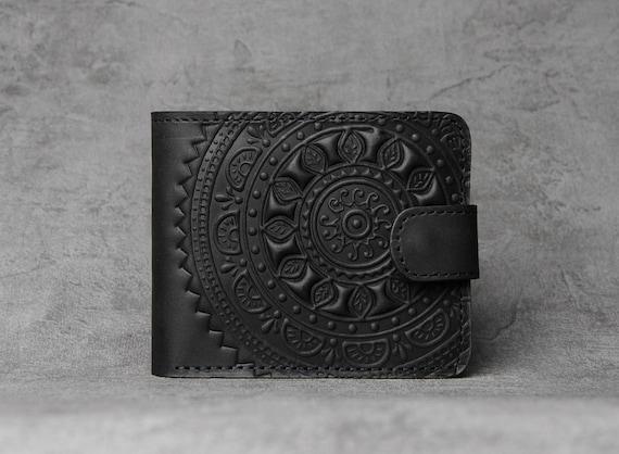 Bohemian Mandala Element Womens Genuine Leather Wallet Zip Around Wallet Clutch Wallet Coin Purse