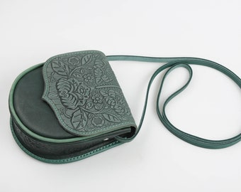 Small purse with strap, small purse crossbody, green small bag, messenger city bag, genuine leather bag, small shoulder bag, unique bag