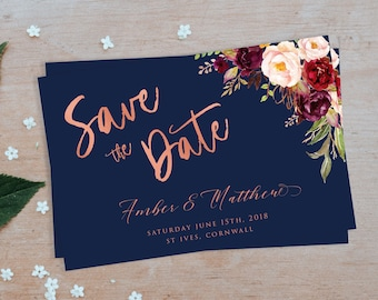 Save the Date Card, Rose Gold, Save the Date, Navy Save the Date,  Save the Date Template, Save the Dates, Save Date, Marsala Flowers