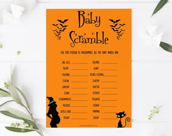Halloween Baby Word Scramble Game, Baby Word Scramble, Witch Baby Scattagories, Autumn Baby Shower, Word Scramble, Halloween Baby Shower HW1