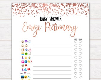 Rose Gold Emoji Pictionary Baby Shower Games, Gold Emoji Baby Shower Games, Rose Gold Emoji Pictionary, Baby Shower Emoji Game, Emoji RG04