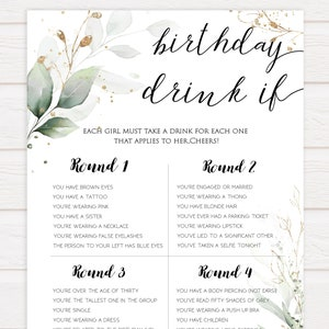 Drinking Game for birthday party instant download and print PDF Drink if Birthday Party Game calligraphy black and white card printable