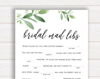 Bridal Shower Mad Libs Game, Greenery Bridal Shower Games, Bridal Mad Libs, Advice for the Bride Game, Bridal Mad Libs, Greenery Bridal