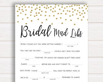 bridal mad libs game bridal shower games gold confetti bridal shower wedding mad libs game bridal mad libs printable bridal games gc1