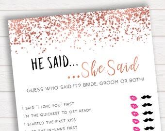 He Said She Said, Rose Gold Bridal Shower Games, Bridal Shower Game Printable, Bridal Shower Game Idea, Who Said It, Bridal Shower RGC