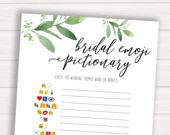 Bridal Emoji Pictionary, Wedding Emoji Game, Greenery Bridal Shower Games, Bridal Shower Games, Bridal Emoji Game, Emoji Game Wedding