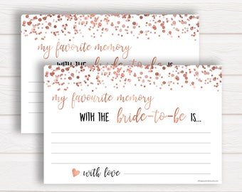 favourite memory with the bride rose gold bridal shower favorite memory with bride to be cards bridal shower cards bachelorette rgc