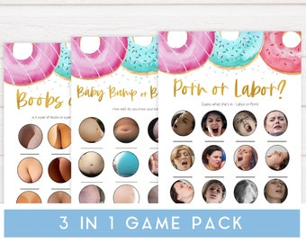 Boobs or Butts D1 Printable Baby Shower Games Labor or Porn Fun Donut Baby Shower Games Donut Baby Games Bundle Baby Bump Beer Belly