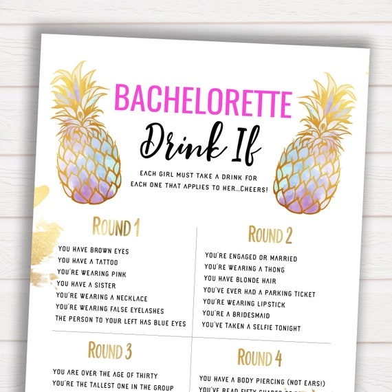 Bachelorette Drink If, Party Games, Gold Pineapple, Gold Bachelorette,  Drink If Game, Printable, Gold Bridal, Drink If, Pineapple, GPG
