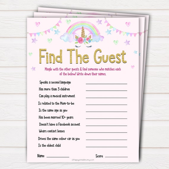 Unicorn Find The Guest Baby Shower Game Find The Guest Ice Etsy
