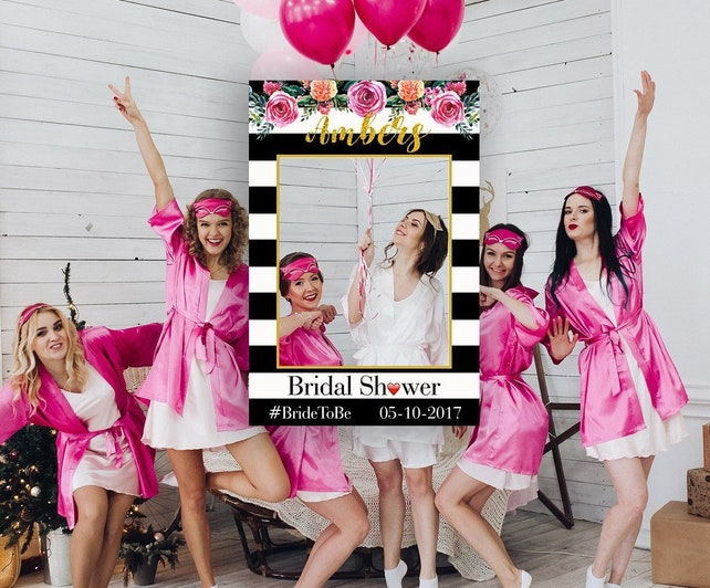 Black White Striped Floral Bridal Shower Photo Booth Striped