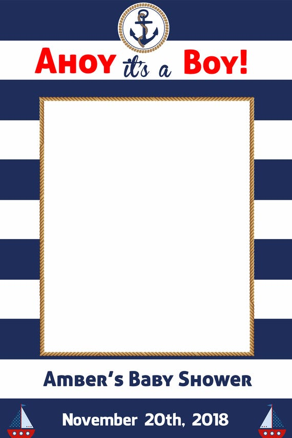 Ahoy its a Boy Ahoy its a Girl Gender Reveal Photo frame Prop Photo Booth Baby Shower DIGITALFILE Brown Hair Baby 24X36