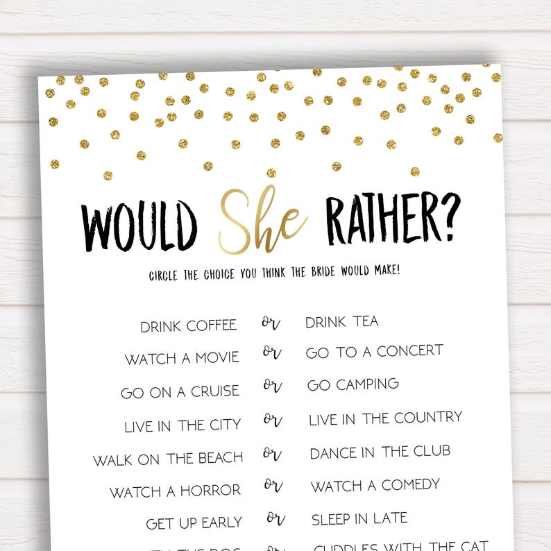 Story Unique Games To Play At Wedding Receptions: Would She Rather Bridal Shower Game Bridal Shower Game