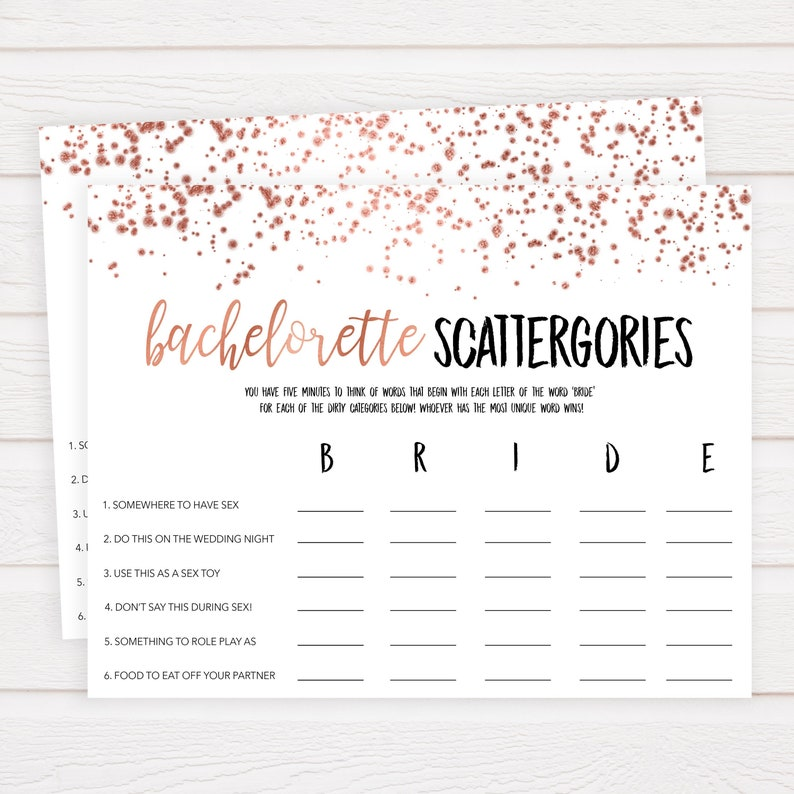 picture regarding Bachelorette Party Games Printable identified as Filthy Bachelorette Scattergories Video game, Bachelorette Occasion Video games, Rose Gold Bachelorette, Scattagories, Rooster Get together Online games, Printable RGC