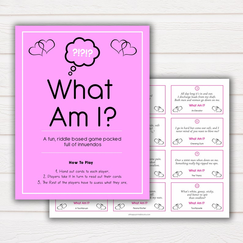 24 What Am I Innuendo Bridal Shower Games, Innuendo Riddle Bachelorette  Games, What Am I Games, Hen Party Games, Fun Bridal Shower Games