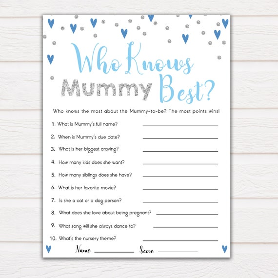 Who Knows Mummy Best Quiz ☆ 10 ☆ Baby Shower 20 Cards ☆ Pink or Blue