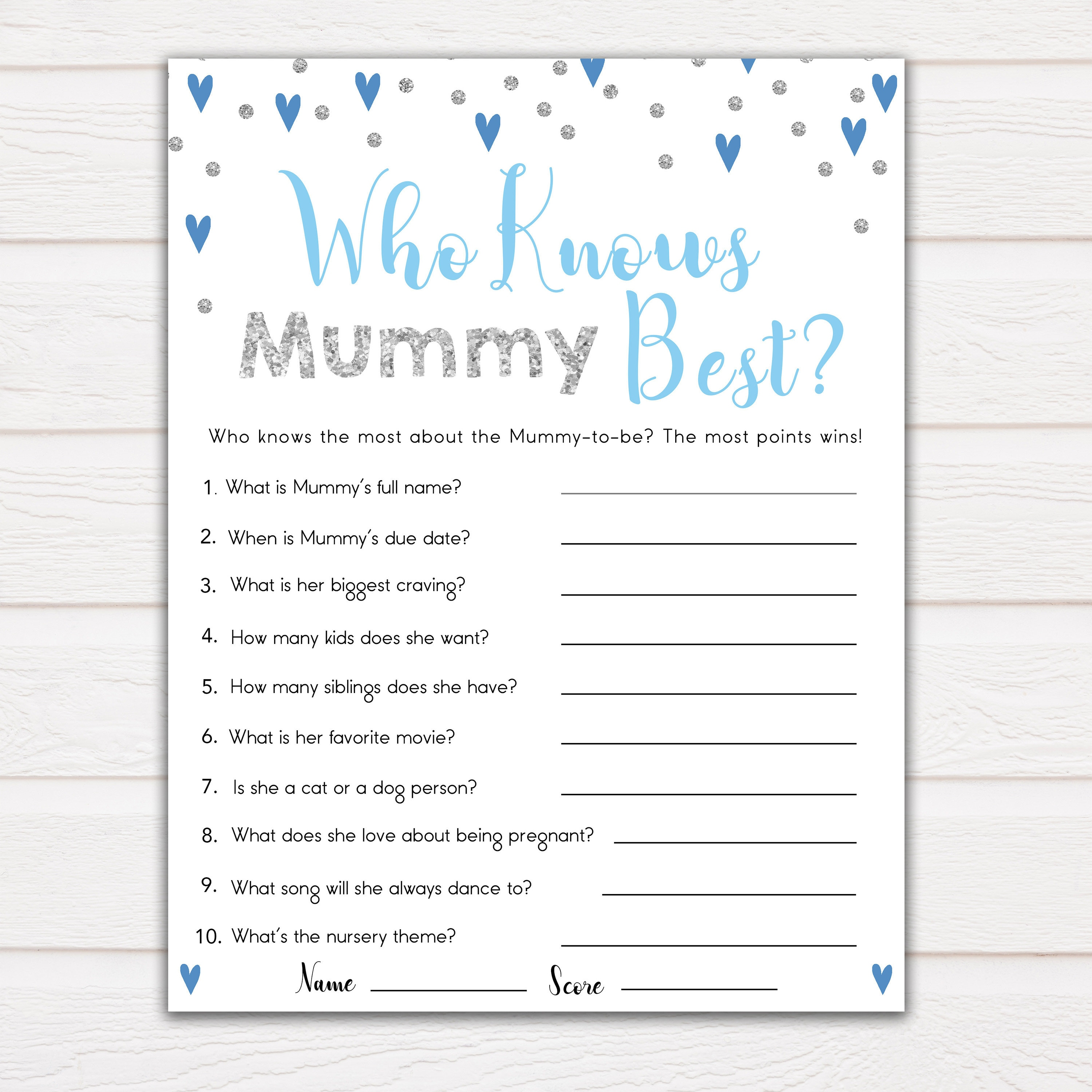 Baby Shower Game Who Knows Mummy Best  Rabbit Floral Design 20 Sheets Players