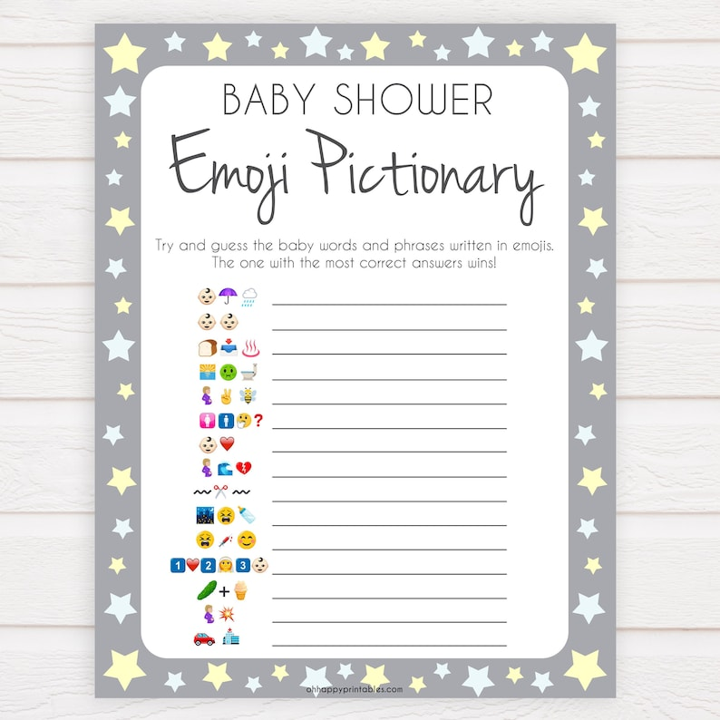image about Printable Emoji Games identified as Gray Yellow Celebs Emoji Pictionary Kid Shower Online games, Printable Little one Shower Online games, Emoji Pictionary, Celebrities Youngster Shower Online games. Emoji Recreation GS1