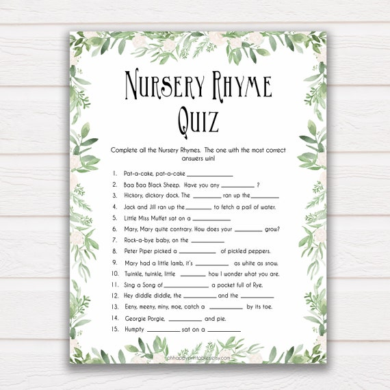 Nursery Rhyme Quiz Baby Shower Games Guess Nursery Rhyme Etsy