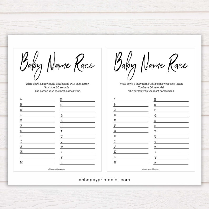White Gender Neutral Baby Name Race Game, Baby Shower Games, Baby Names  Game, Baby Names, Simple White Baby Shower Game, Baby Name Race S1