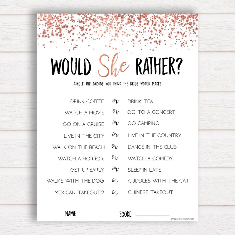 photograph about Printable Bridal Shower Games identify Would She In its place, Rose Gold, Bridal Shower Game titles, EDITABLE Would She In its place, Bridal Shower Printable, Marriage ceremony Shower Sport, Template RGC