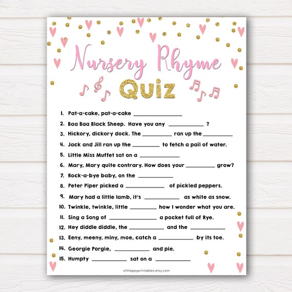 Pink Nursery Rhyme Quiz Baby Shower Games Guess The Bursery Etsy