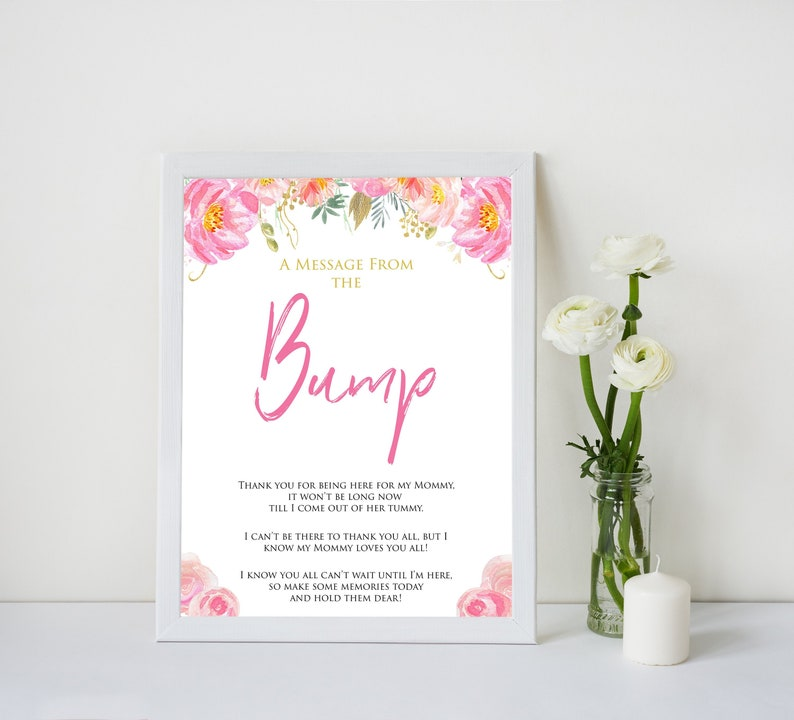 Blush Floral Message From Baby Baby Shower Signs Printable Etsy