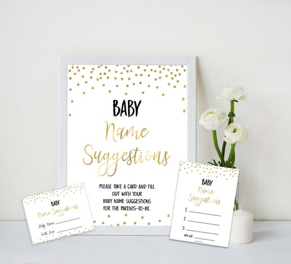 baby name suggestion gold confetti baby name suggestions etsy