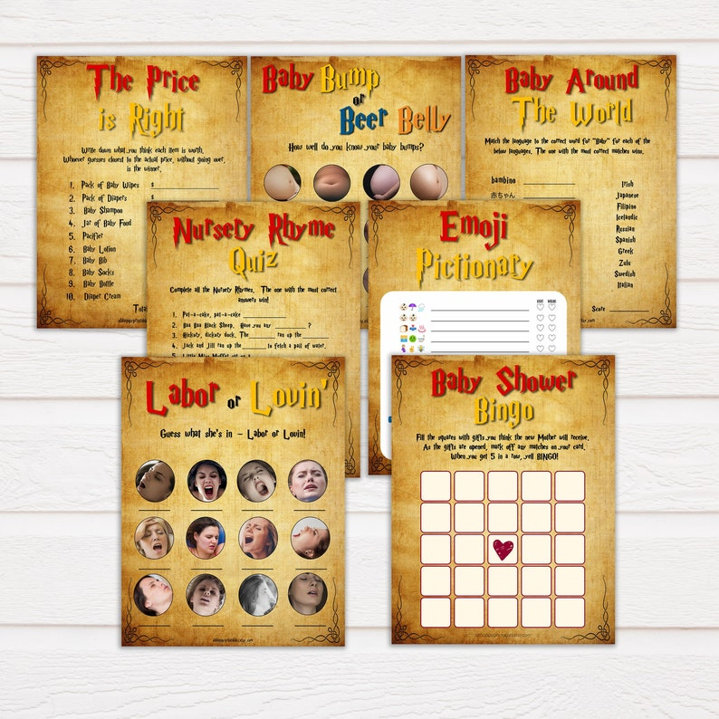 Wizard Baby Shower Games Pack, 7 Baby Shower Games Bundle, Harry Baby  Shower Games, Wizard Baby Shower Ideas, Baby Shower Games HP19