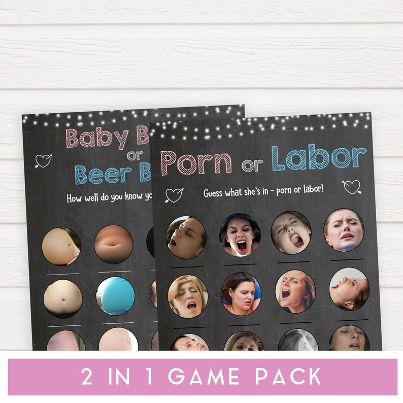 Baby Shower Games Porn Labour 2 IN 1 Porn or Labour Game /& Baby Bump or Beer Belly Chalkboard Baby Bump Beer Belly Game Porn or Labor