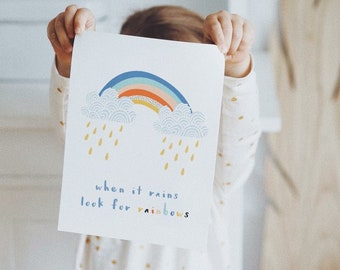 When It Rains Look For Rainbows Nursery Printable
