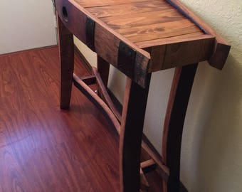 Wine Barrel Hall Table