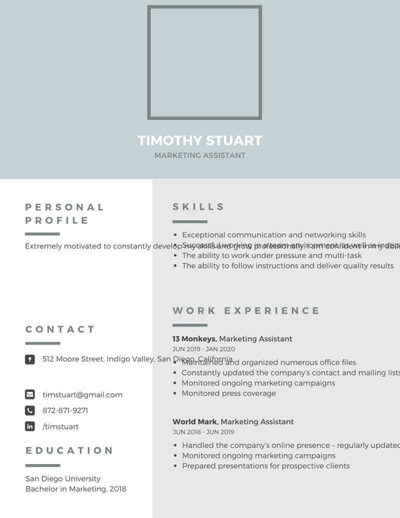 Resume template/single page/ digital download/ professional | Etsy